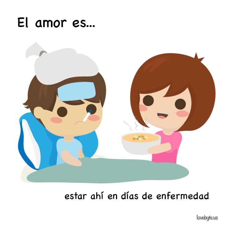 ilustración que muestra que el amor es estar con tu pareja en la enfermedad