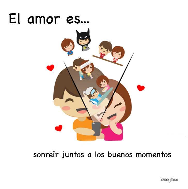 ilustración que muestra que el amor es sonreír junto con tu pareja