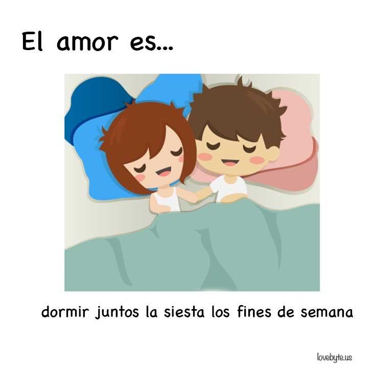 ilustración de el amor es dormir juntos los fines de semana