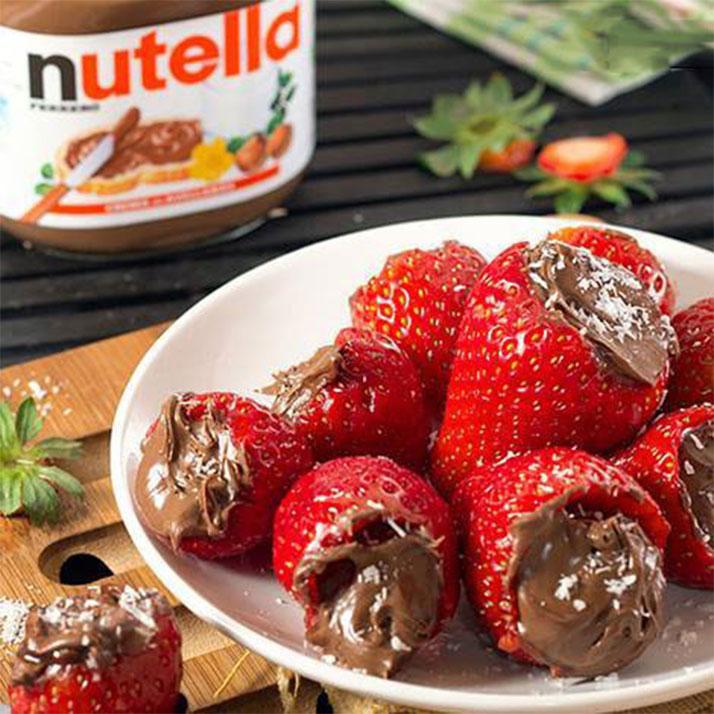 fresas rellenas de nutella