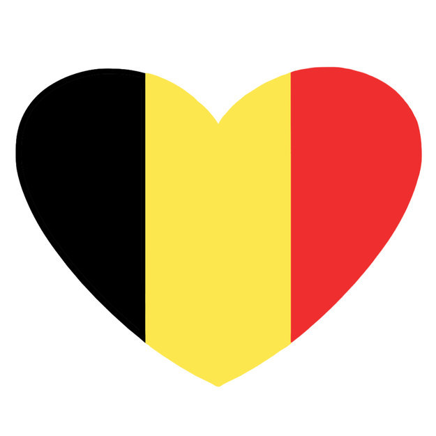 Corazón con los colores de la bandera de Bélgica