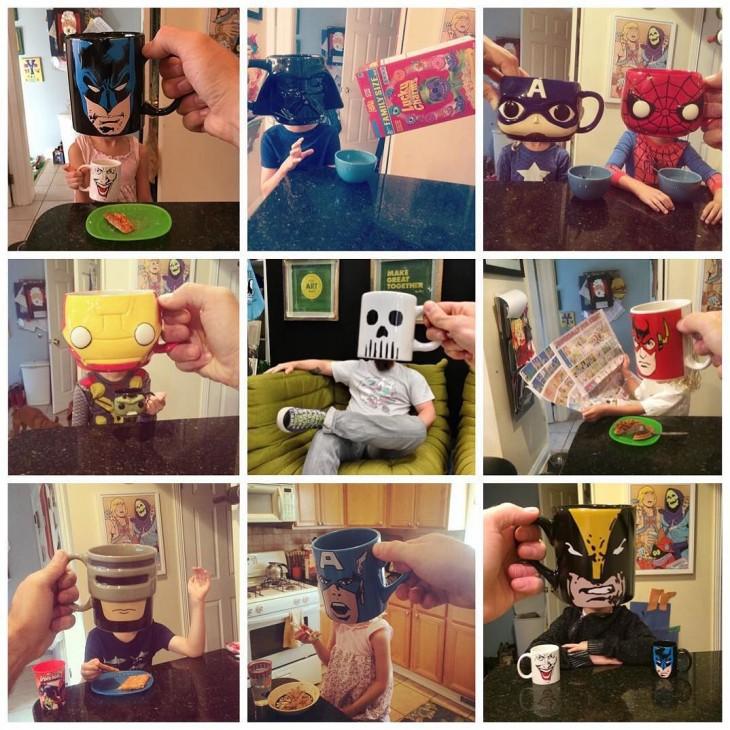 collage de fotos de tazas