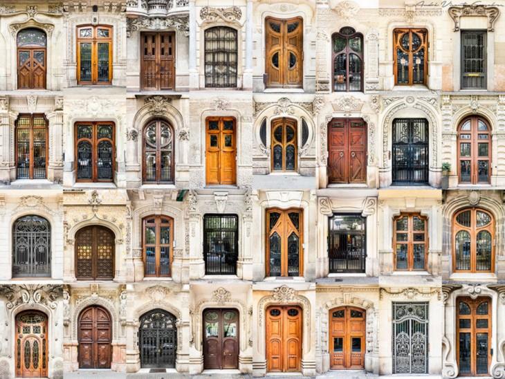 Collage de fotografías de puertas y ventanas en España por el fotógrafo André Vicente Goncalves