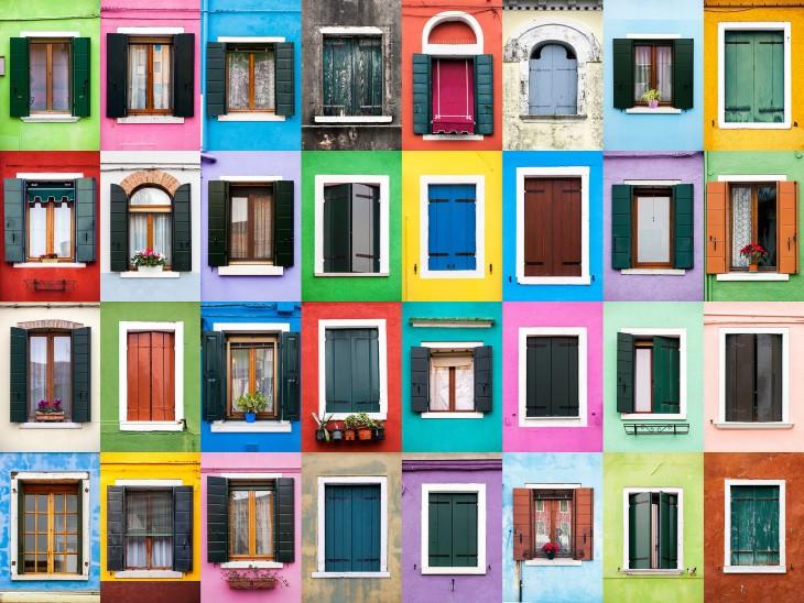 collage que muestra el color y estilos de ventana en Burano por el portugués André Vicente