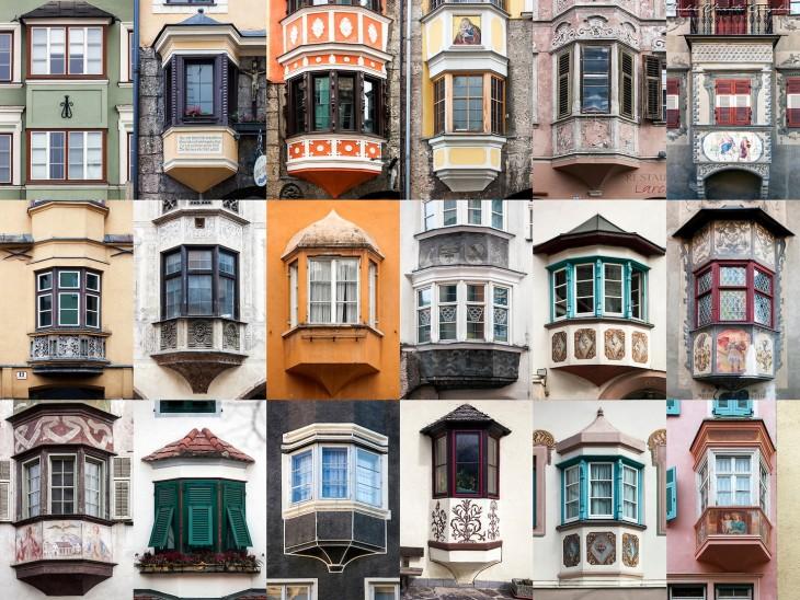 fotografías de diferentes colores y diseños en ventanas en Los Alpes