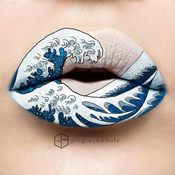 labios con un diseño de una ola de mar