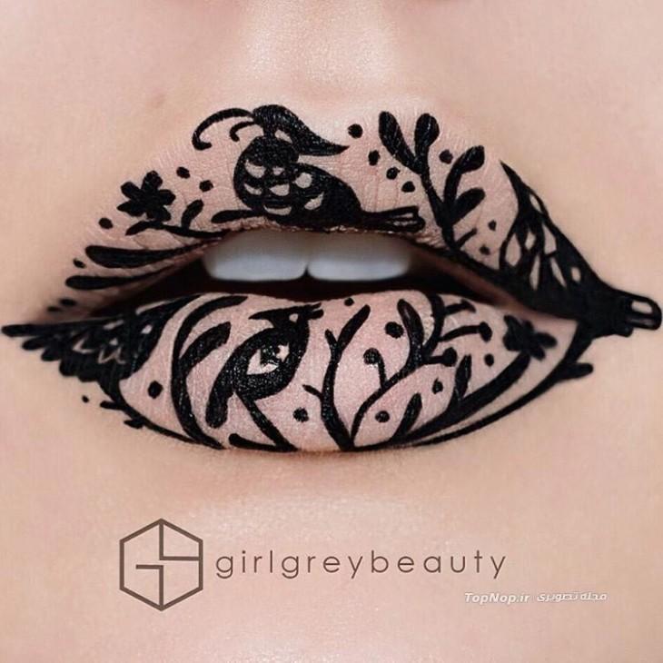 diseño en unos labios con diseño de árboles y pájaros en color negro