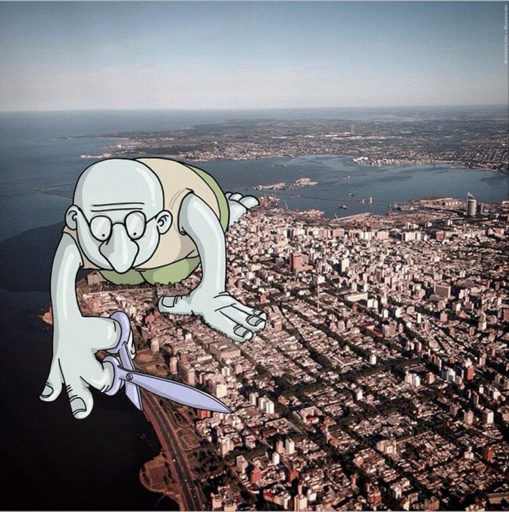 ilustración de un enorme dibujo a punto de cortar una ciudad