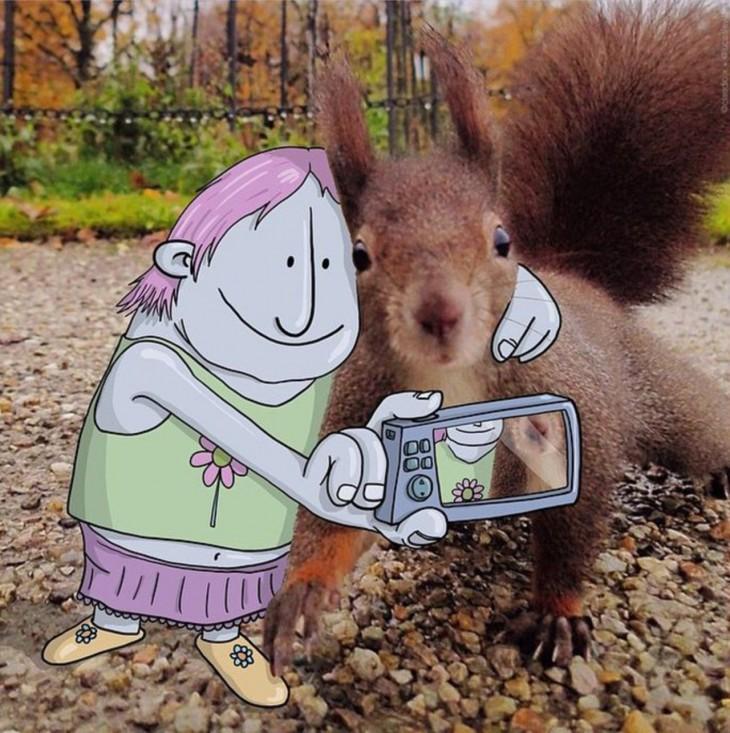 ilustración de un dibujo animado tomándose una selfie con una ardilla