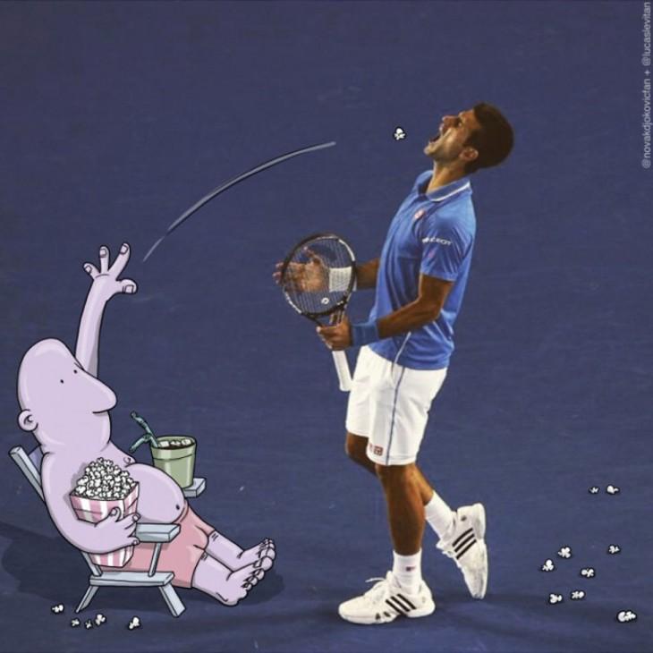 divertida ilustración de un dibujo aventando una palomita a la boca de un tennista famoso