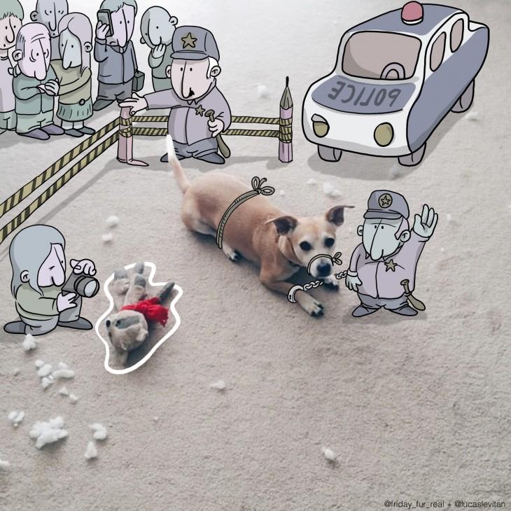 ilustración de un perro arrestado por la policía a lado del cuerpo de un oso de peluche