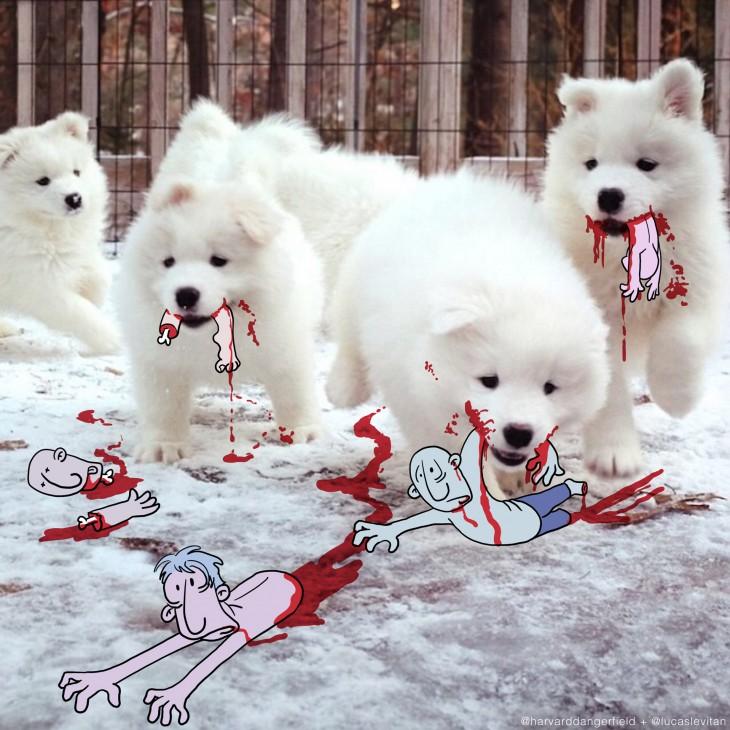 divertida ilustración de cuatro perros blancos con dibujos de personas sobre sus hocicos