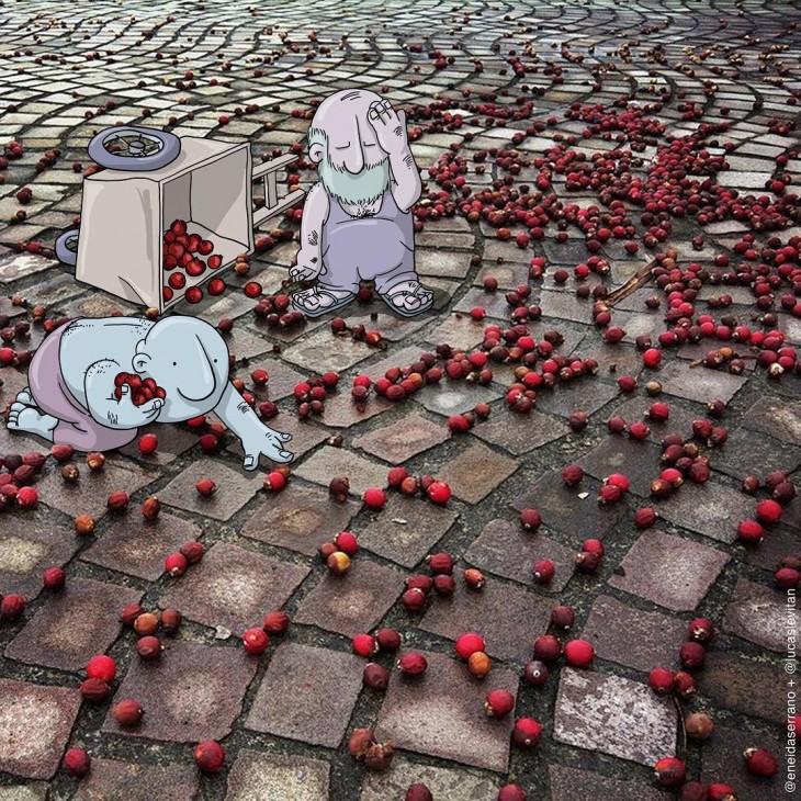 ilustración con dos dibujos rodeados de una fruta roja derramada en el piso
