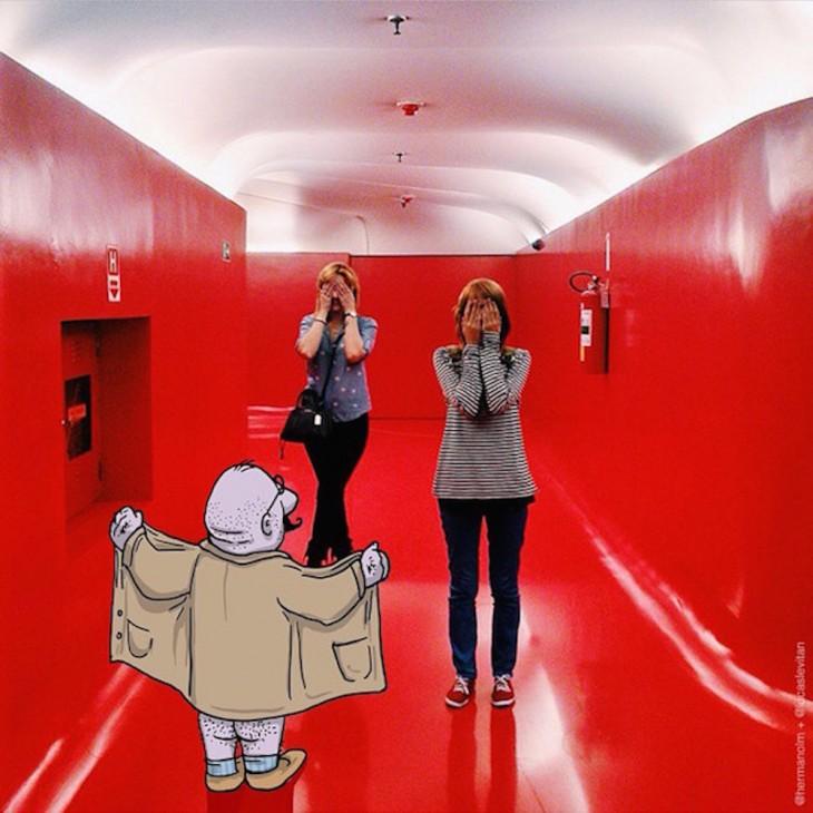 divertida fotografía de un dibujo acosando a dos chicas