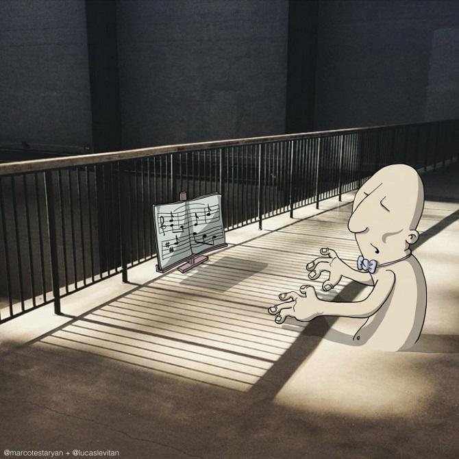 ilustración de un dibujo simulando que está tocando el piano en la sombra de los barrotes de un balcón
