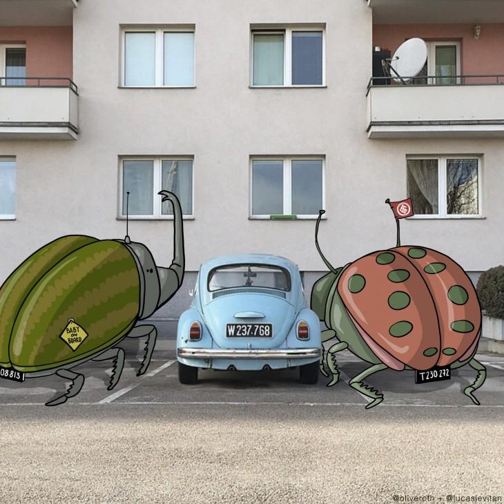 Fotografía de un bocho en medio de dos dibujos de escarabajos gigantes
