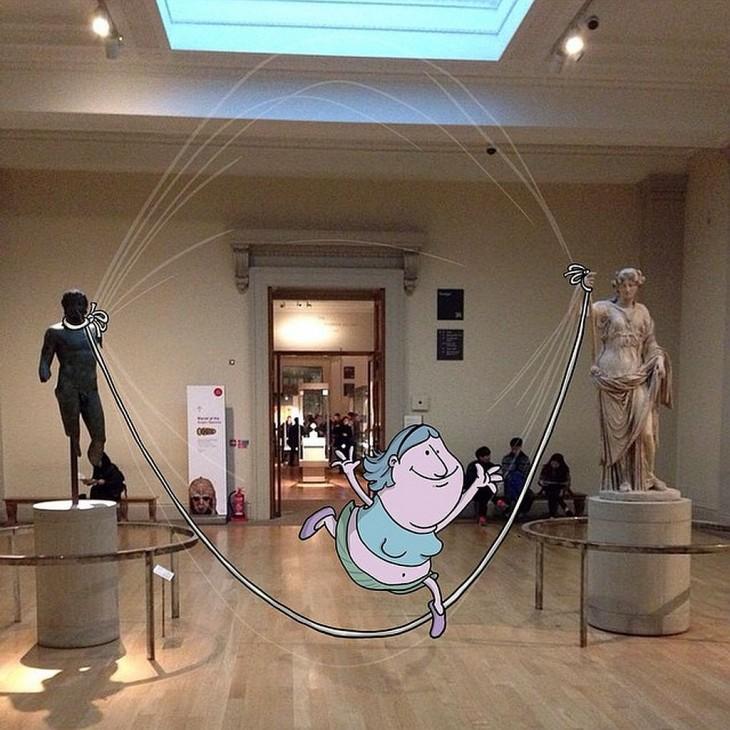 ilustración divertida de un monito brincando la cuerda entre dos estatuas