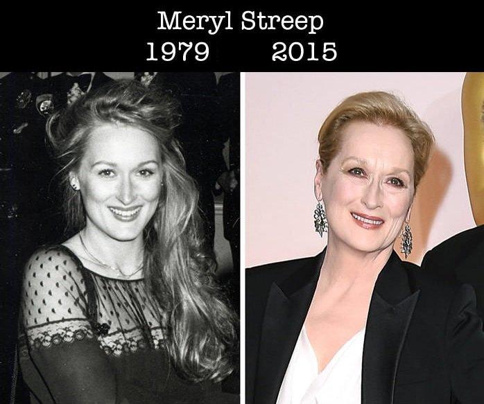 Comparación de Meryl Streep de su primer nominación a los premios Óscar y una foto del 2015