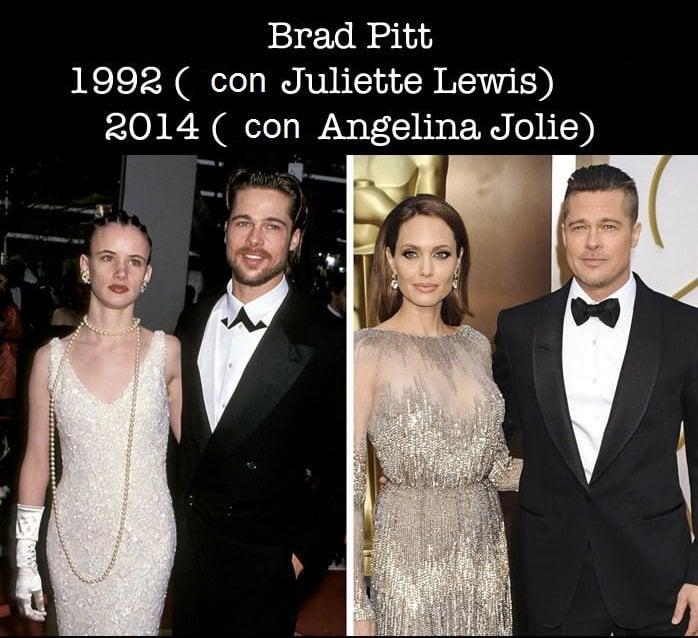 Fotografía comparativa del antes y después de Brad Pitt en los premios Óscar