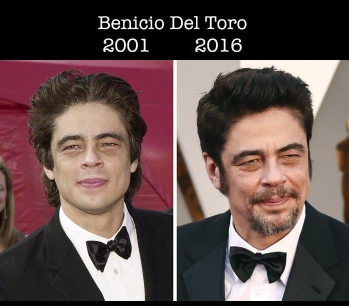 Benicio Del Toro en su primer nominación al Óscar y en la actualidad