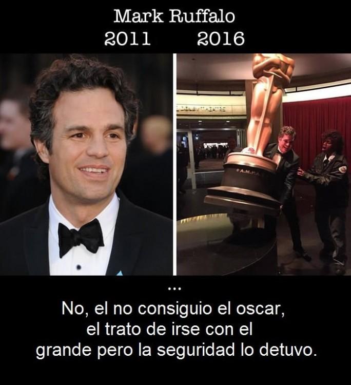 imagen comparativa de como ha cambiado Mark Ruffalo en su primer nominación al Óscar y en la actualidad