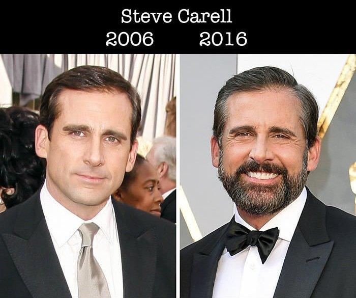 Steve Carrell en su primer nominación al Óscar y en la actualidad