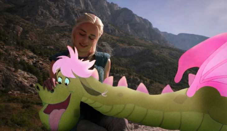 Batalla de Photoshop Daenerys Game of Thrones con un dragón animado entre sus manos