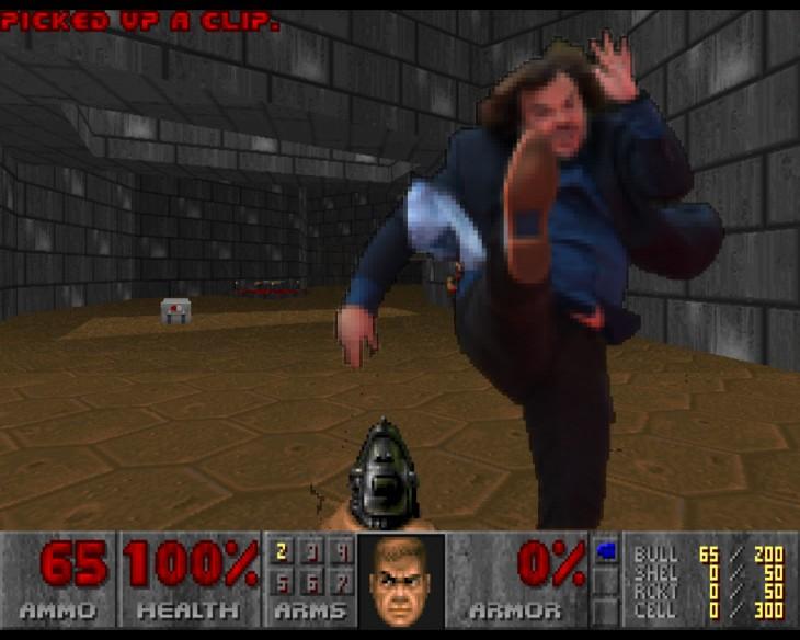 photoshop de jack black tirando una patada dentro de un videojuego