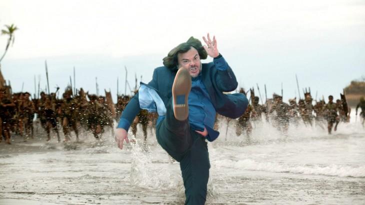 batalla de photoshop de Jack Black tirando una patada mientras lo persiguen