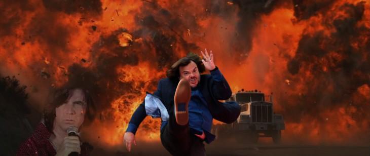 photoshop de jack black dando una patada en un fondo de una explosión