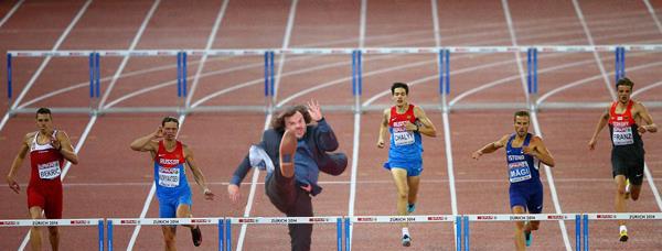 photoshop de jack black en una competencia de atletismo