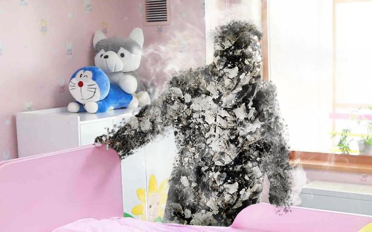 Batalla de Photoshop a Kim Jong Un fumando en un orfanato quemándose en pedazos por culpa del cigarro