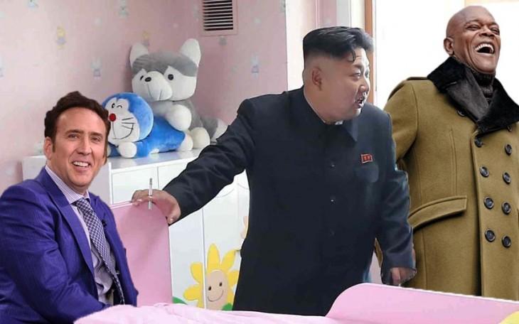 Batalla de Photoshop a Kim Jong Un fumando en un orfanato con el actor nicolas cage