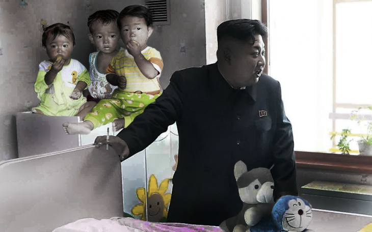Batalla de Photoshop a Kim Jong Un fumando en un orfanato con unos niños huérfanos sentados sobre un mueble