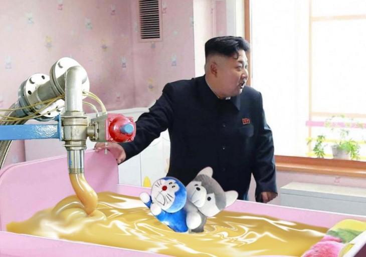 Batalla de Photoshop a Kim Jong Un fumando en un orfanato
