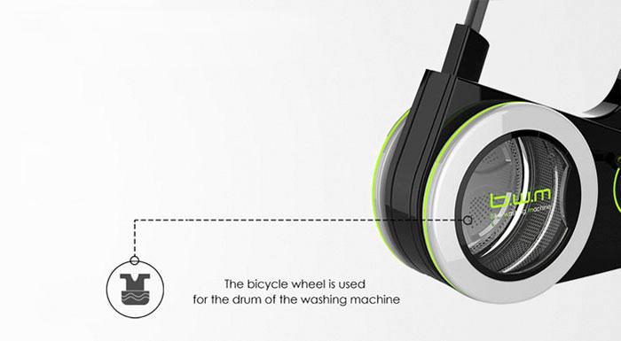 Bike Washing Machine, la bici que lava la ropa mientras haces ejercicio mostrando el tambor de lavadora en su llanta delantera