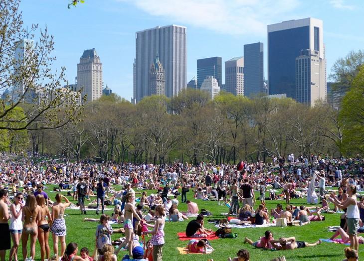 central park lleno de gente en día de campo