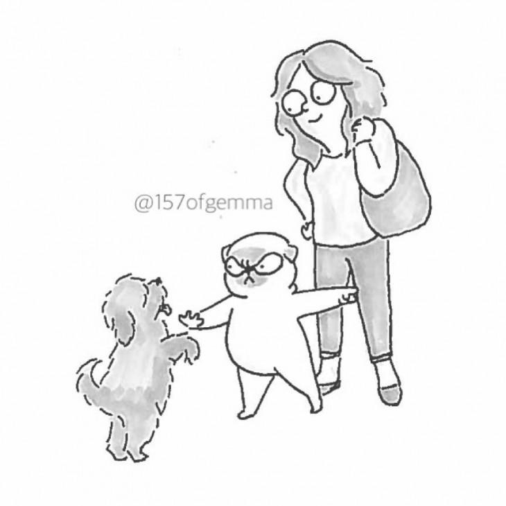 perro pug cuidando a su dueña