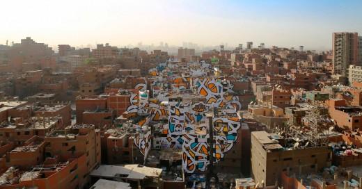 Mural en el Cairo hecho con mas de 50 edificios