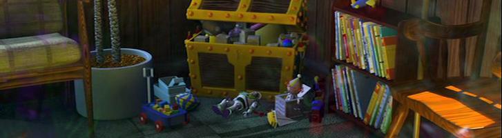Cameo de Buzz Lightyear entre unos juguetes en la película de Nemo