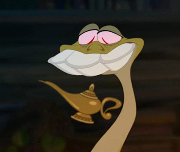 la lámpara de Aladdin en la película la princesa y el sapo