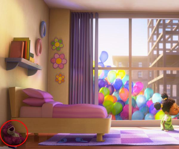 escena de la película Up donde aparece el lotso de Toy Story 3