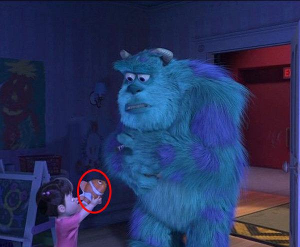 cameo de Nemo en una escena de la película de Monsters Inc