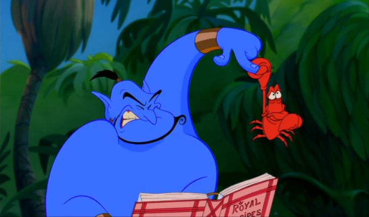 Cameo de Sebastián de la sirenita en la película de Aladdin con el genio