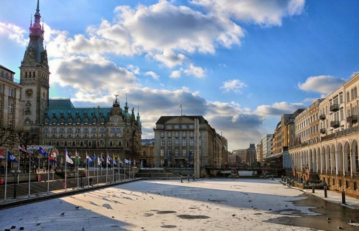 una de las calles de Hamburgo, Alemania