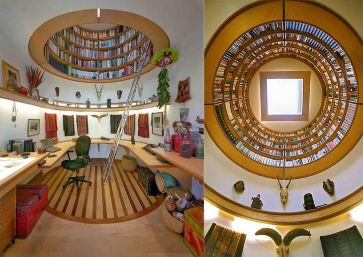 diseño de una biblioteca en el techo de la habitación