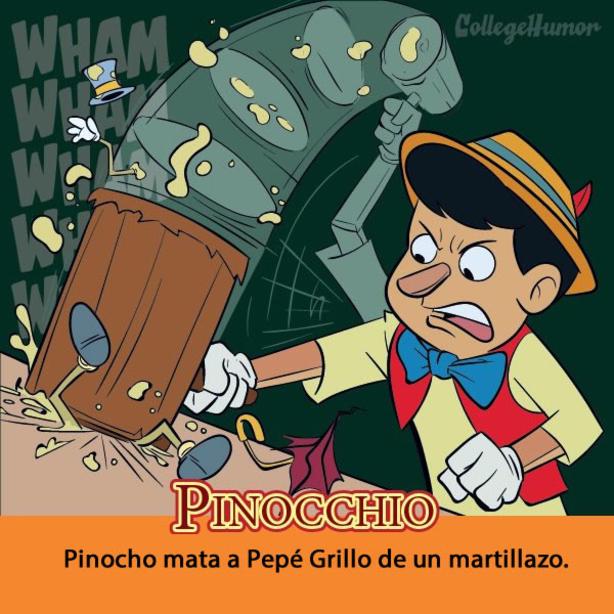 ilustración que muestra la verdadera historia de pinocho