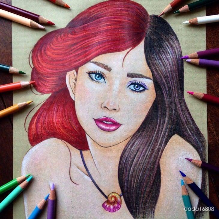 rostros combinados de Ariel y Vanessa personajes de la sirenita