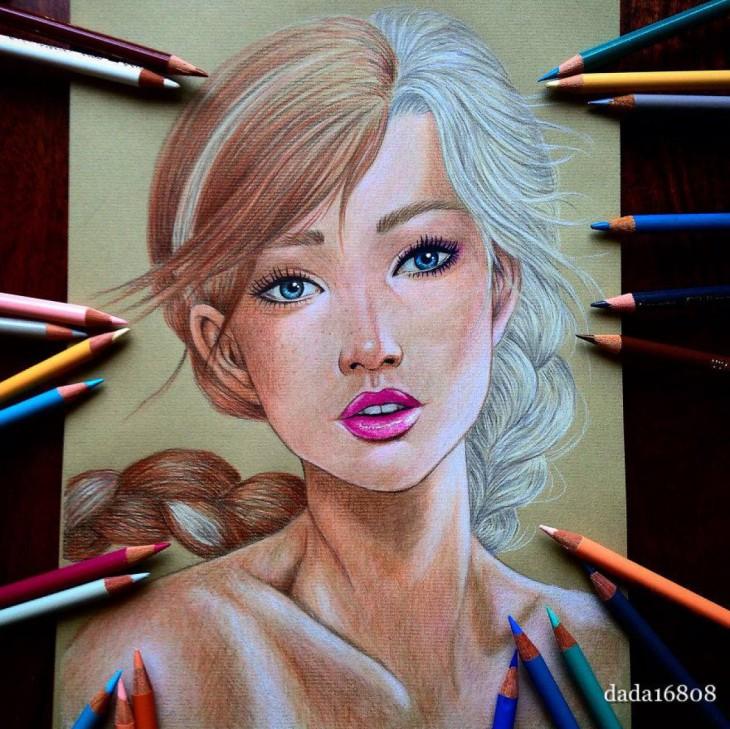 Dibujo que combina los rostros de ana y elsa las princesas de la película Frozen