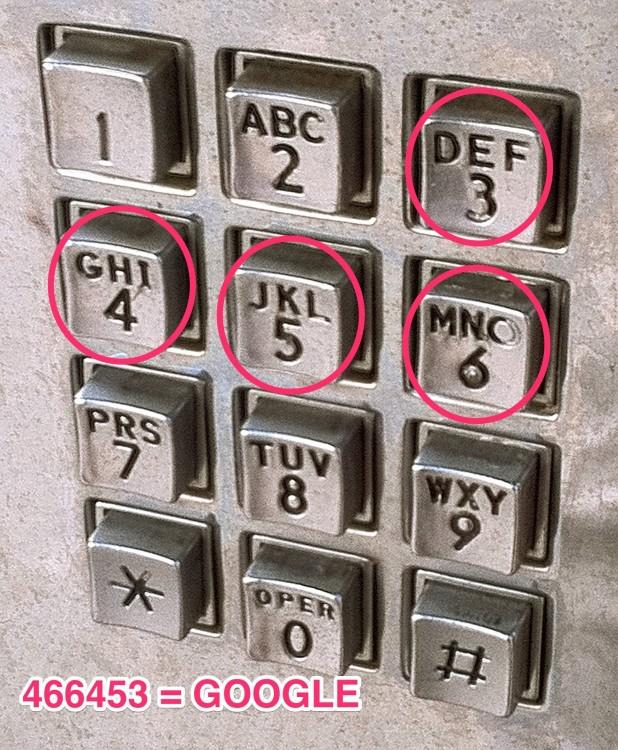 teclas de un teléfono público